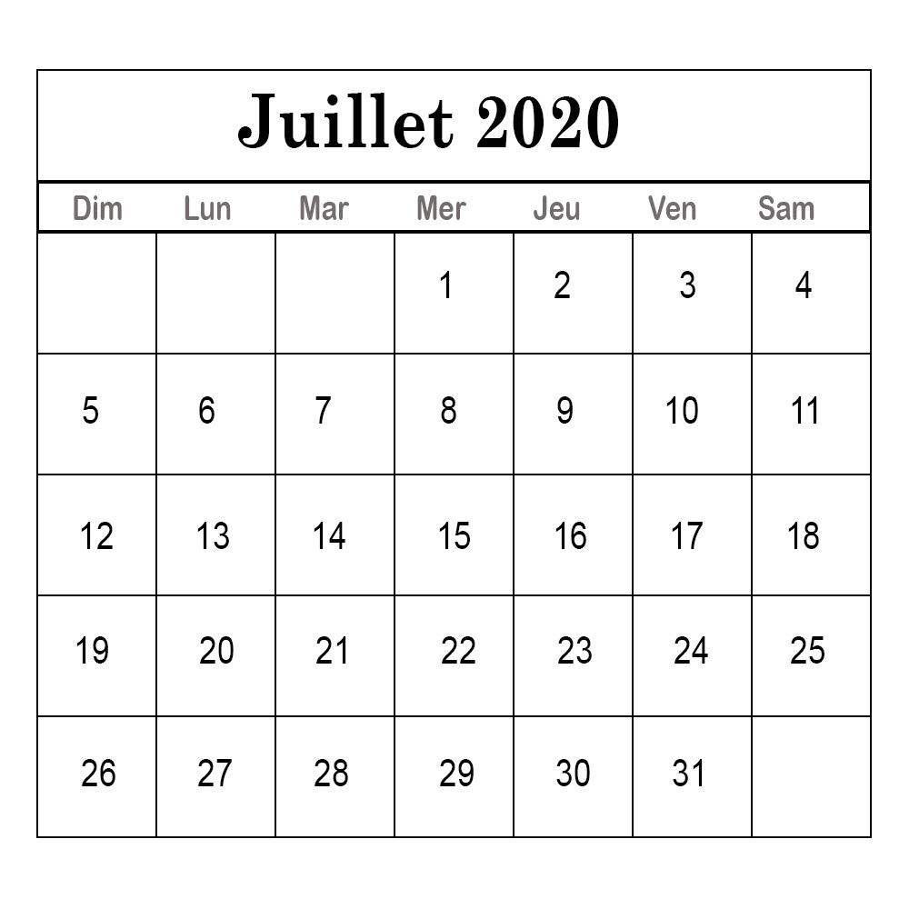 Juillet 2020 Calendrier