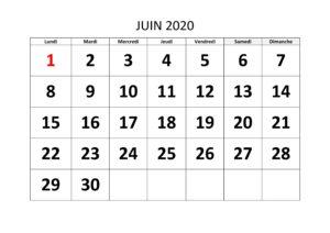 Calendrier Juin 2020 PDF