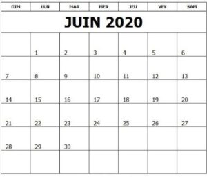Juin 2020 Calendrier