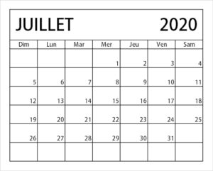 2020 Calendrier Juilletjours fériés