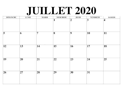Calendrier JuilletMensuel 2020