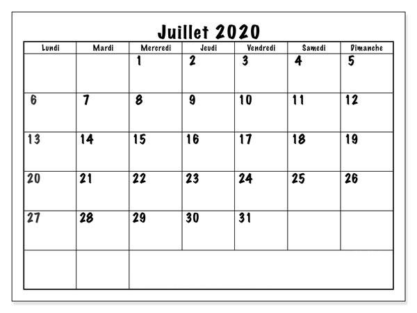Calendrier JuilletVacances 2020