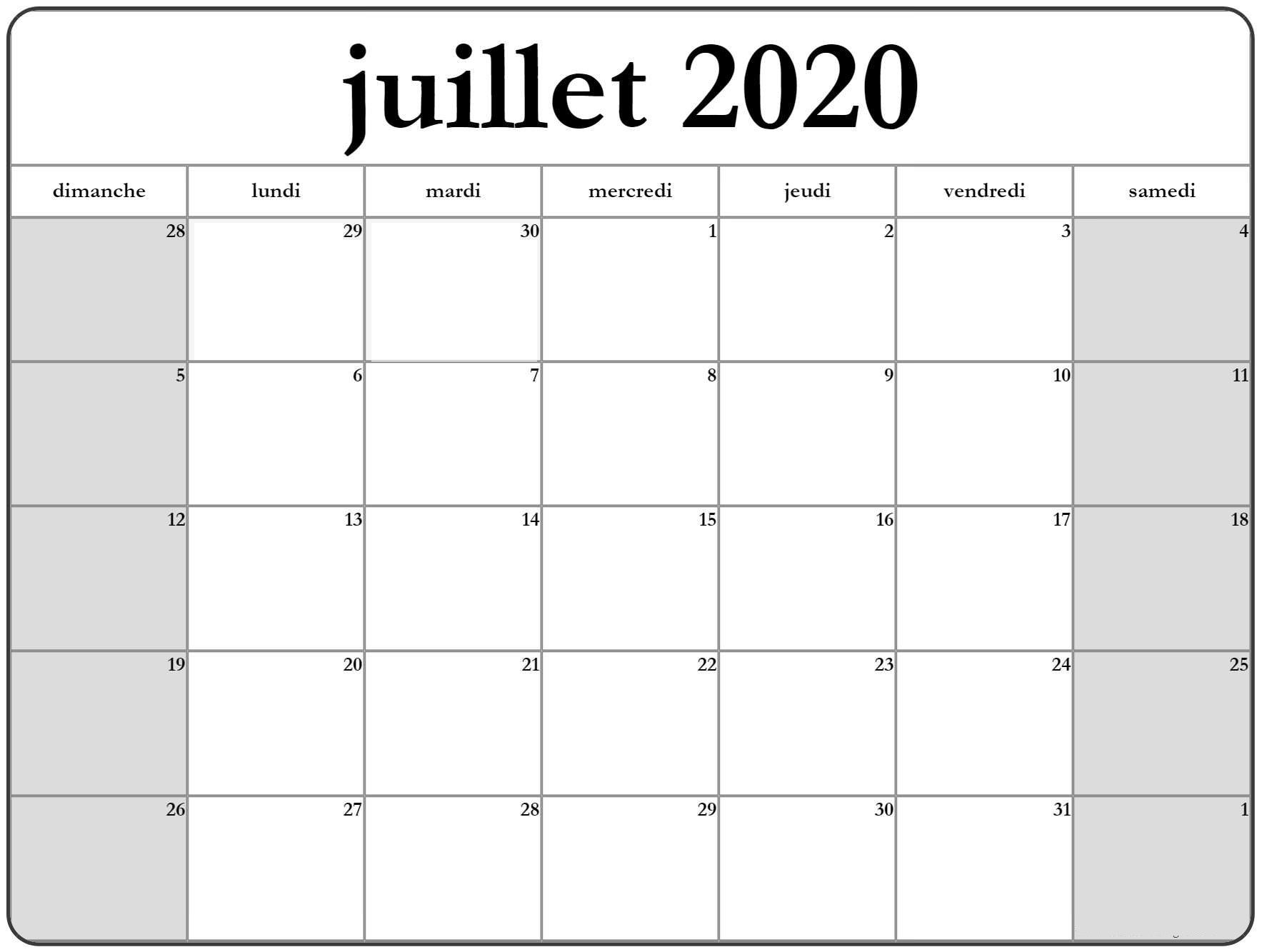 Juillet Calendrier 2020