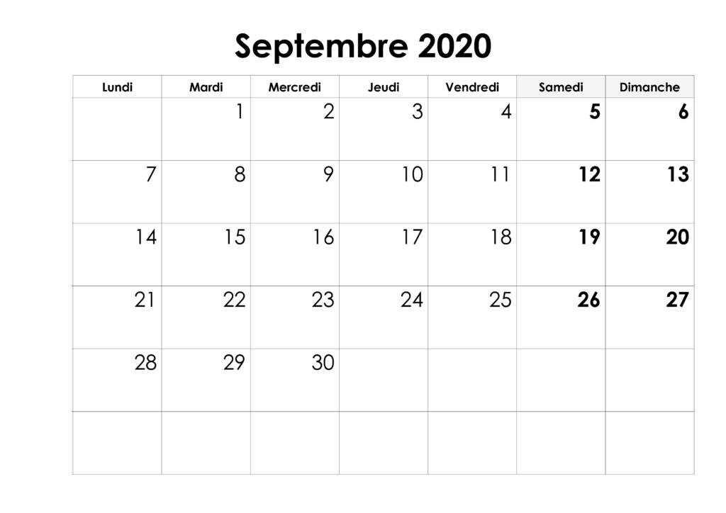 Calendrier 2020 Septembre
