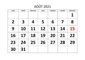2021 Calendrier Août