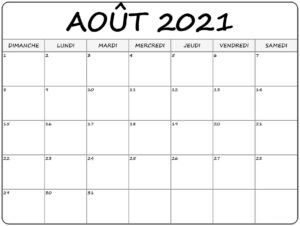 Août Calendrier 2021