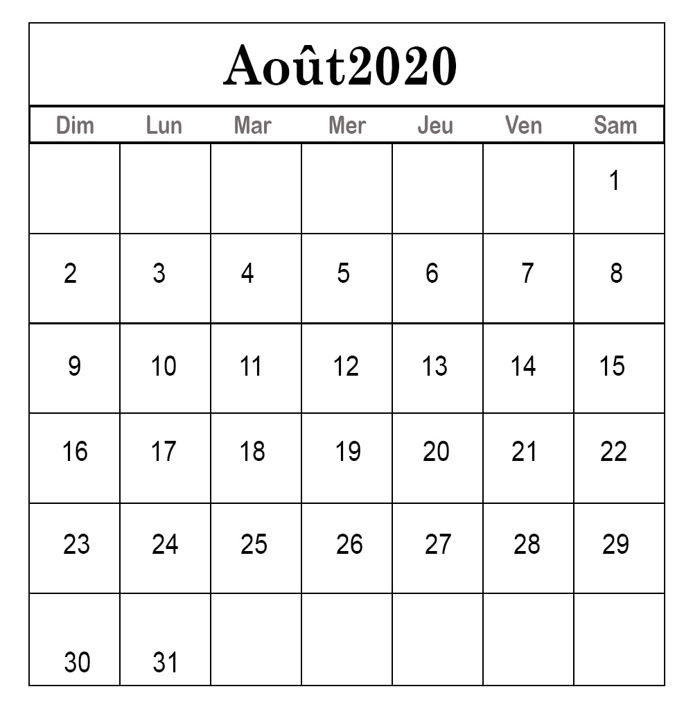 2020 Calendrier Août