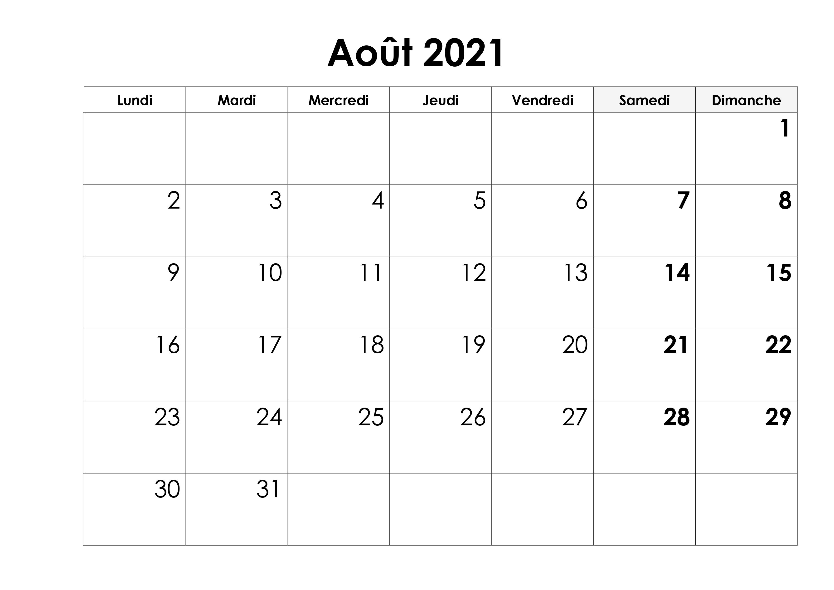 Calendrier Août 2021 Jours Fériés