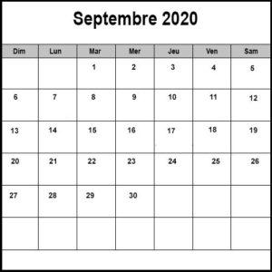 Calendrier Septembre 2020 PDF