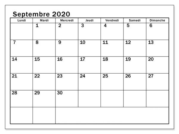 Calendrier Septembre 2020