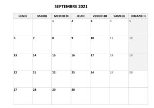 Calendrier Septembre 2021 Vacances