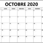 2020 Calendrier Octobrejours fériés