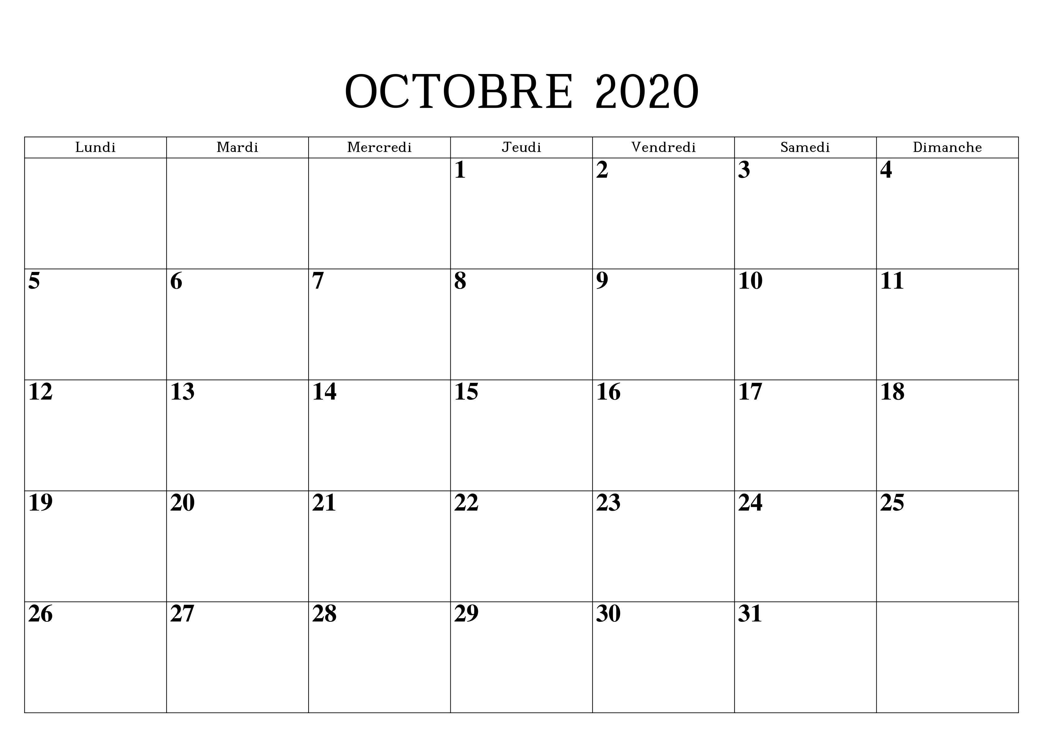 Calendrier 2020 Octobre PDF