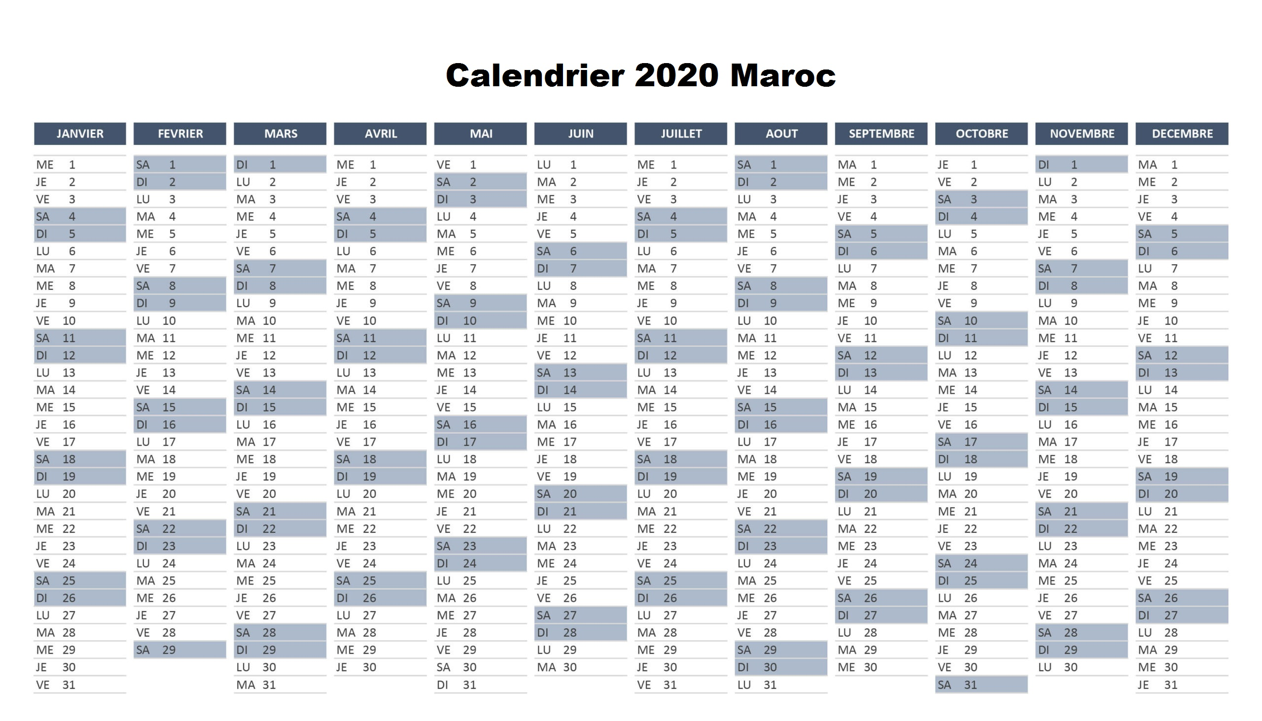 Calendrier 2020 Maroc PDF
