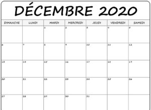 Calendrier 2020 Decembre