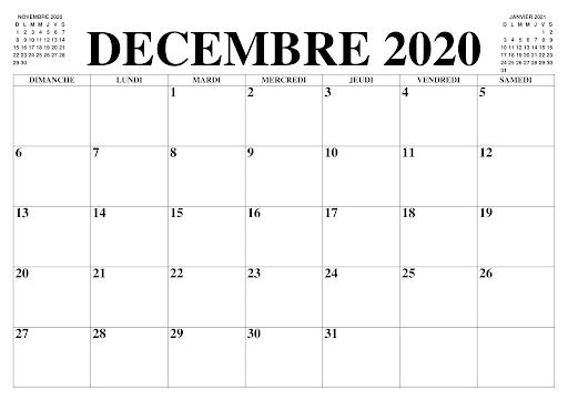 Calendrier Decembre 2020 PDF