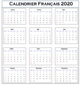 Calendrier Imprimable 2020