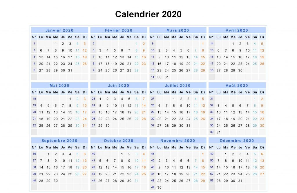 Calendrier 2020 Imprimable