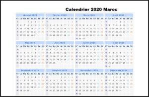 Calendrier 2020 Maroc en Arabe