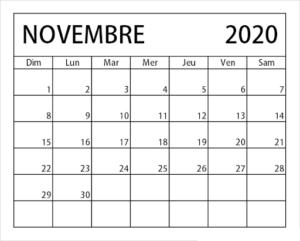 Novembre Vacances 2020 Calendrier