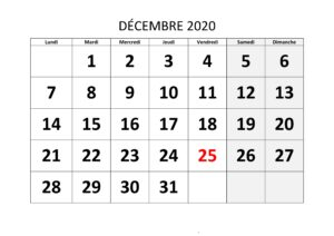 Calendrier Decembre 2020 Excel