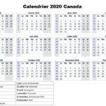 Calendrier 2020 Canada