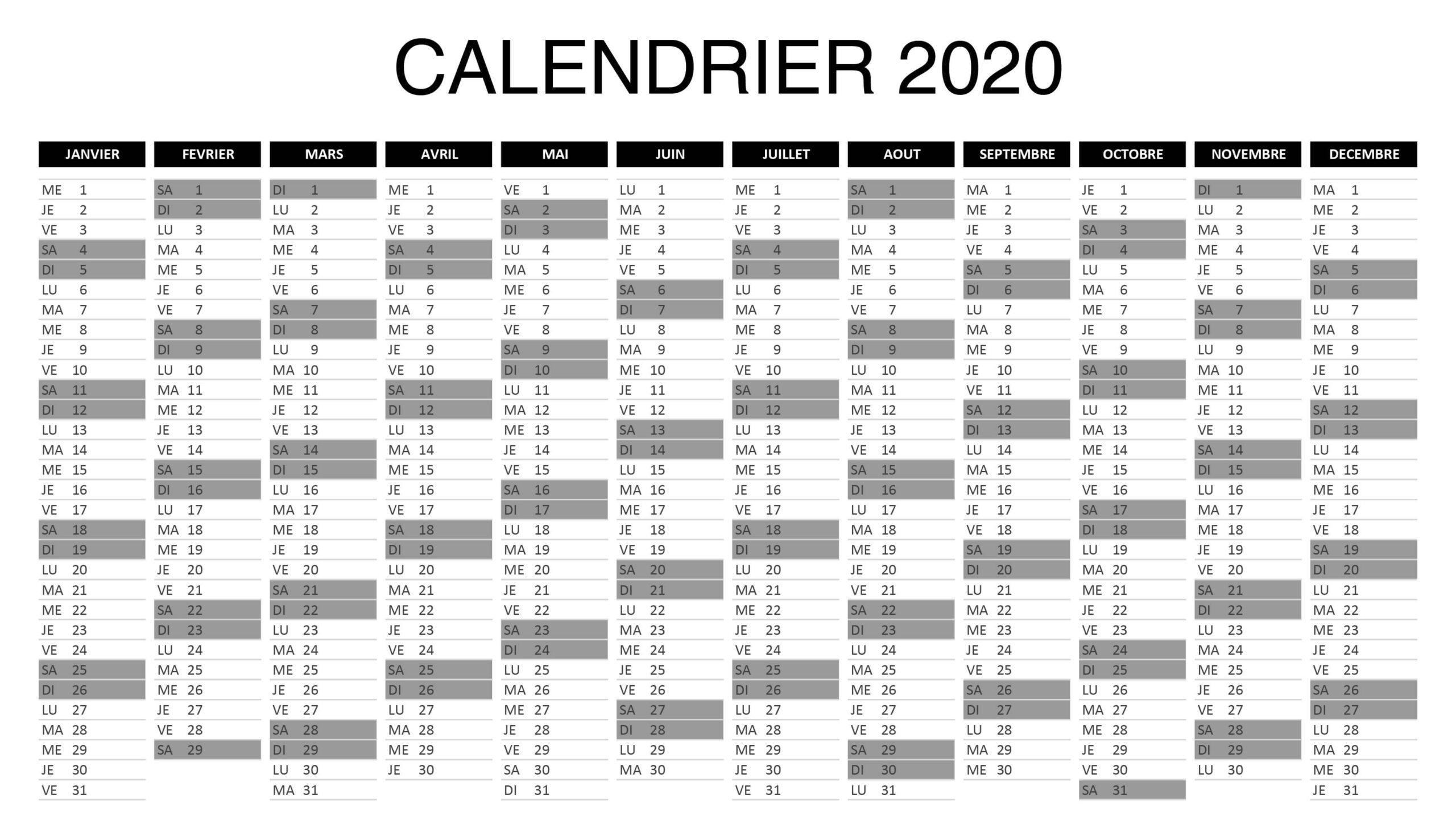 Calendrier 2020 Excel Vacances Scolaires