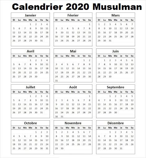 Calendrier Lunaire 2020 Musulman