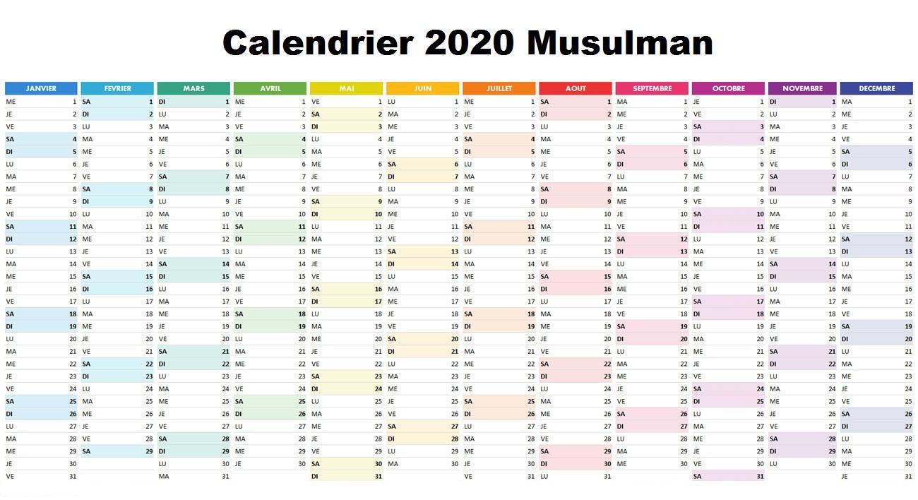 Calendrier 2020 Musulman