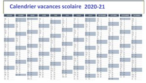 Calendrier 2020 Scolaire