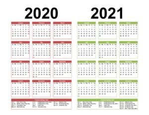 Calendrier 2020 et 2021 Excel