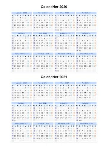 Calendrier Scolaire 2020 et 2021