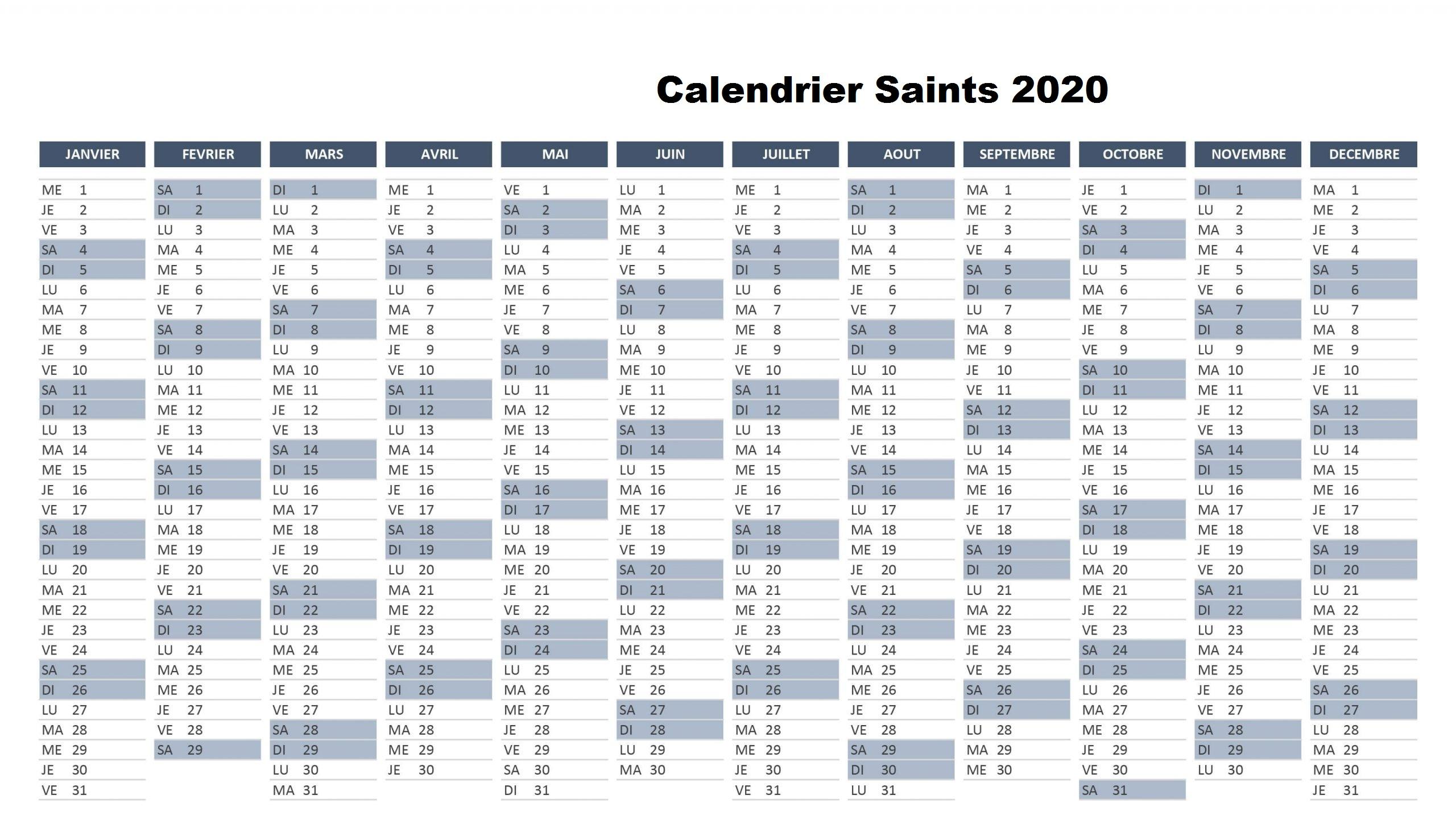 Calendrier Des Saints 2020 Bretons
