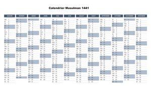 Calendrier 1441 Musulman