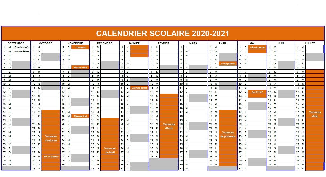 Calendrier Scolaire 2020 Maroc