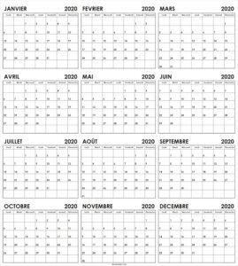 Semaine Calendrier 2020