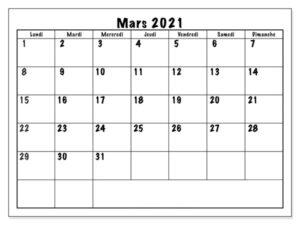 Calendrier Mars 2021 Excel