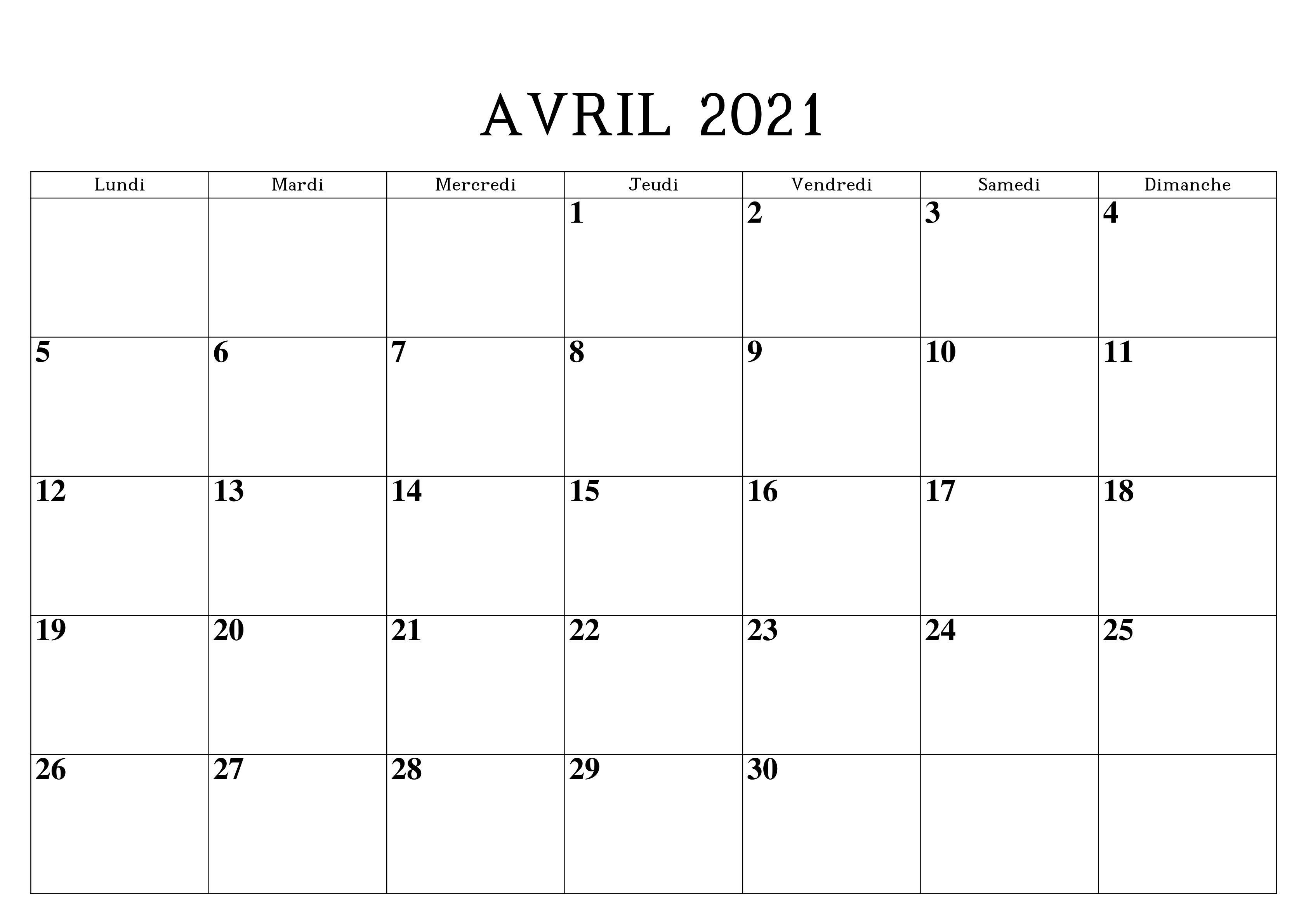 Calendrier Avril 2021 Excel