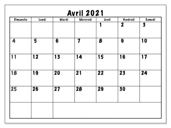 Calendrier 2021 Avril