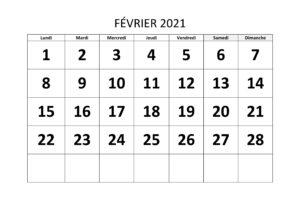 Calendrier Février 2021 Excel