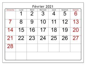 Calendrier 2021 Fevrier