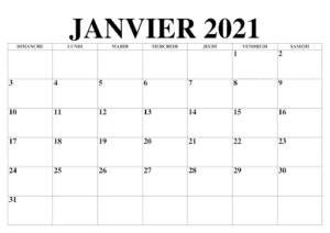 Calendrier 2021 Janvier