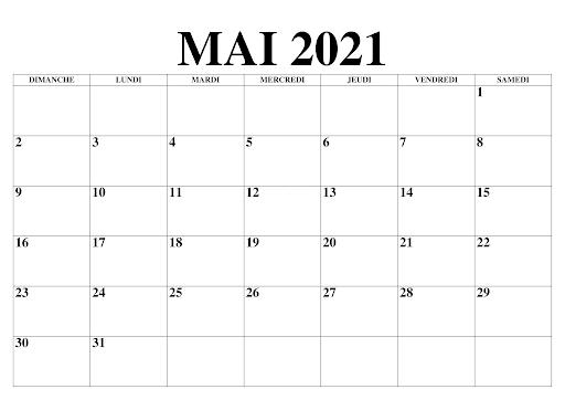 Calendrier Mois Mai 2021