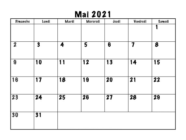 Calendrier Mai 2021 PDF