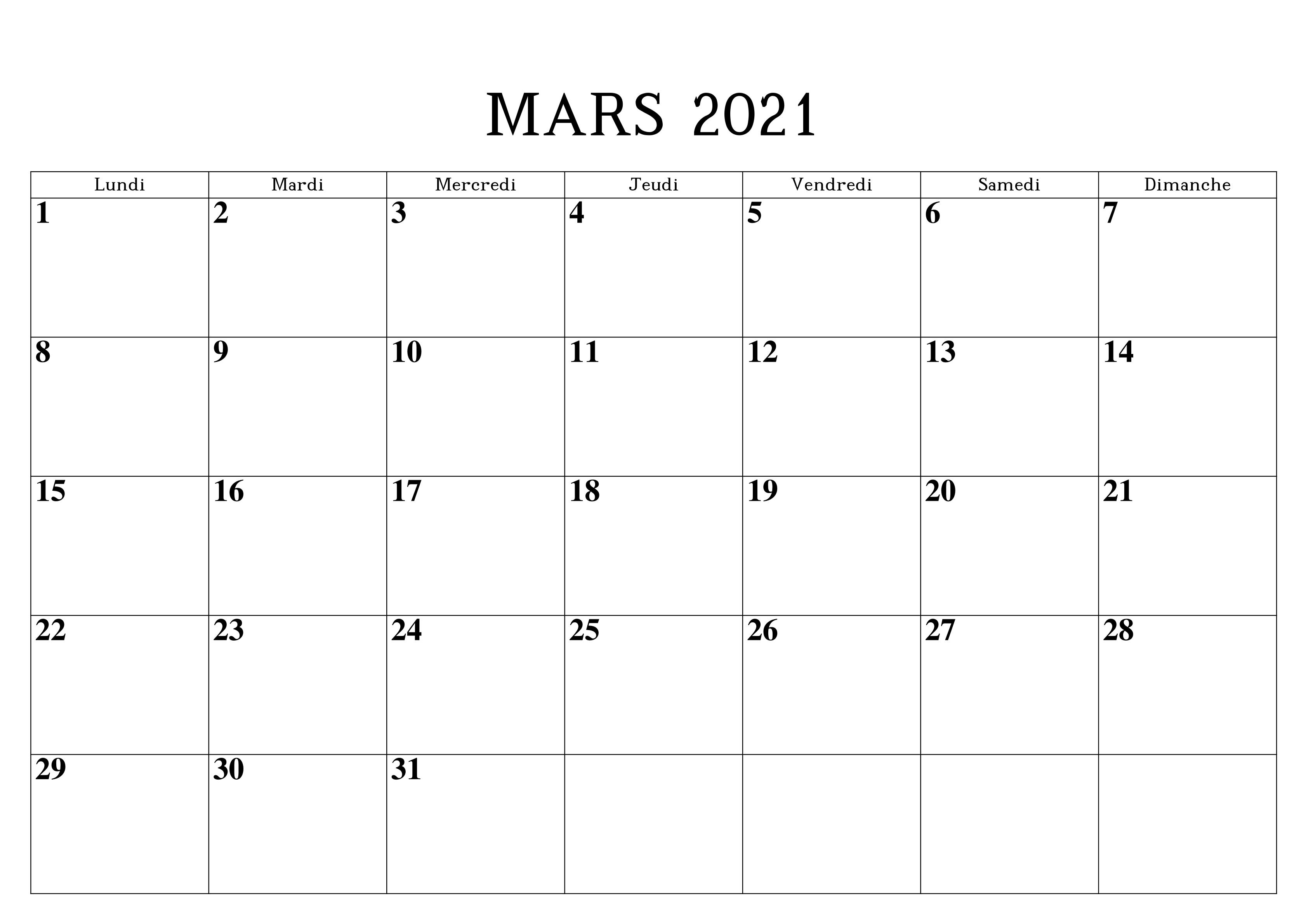Calendrier de Mars 2021