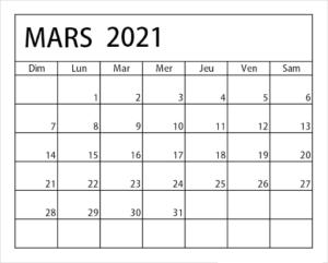 Calendrier Mars 2021 PDF