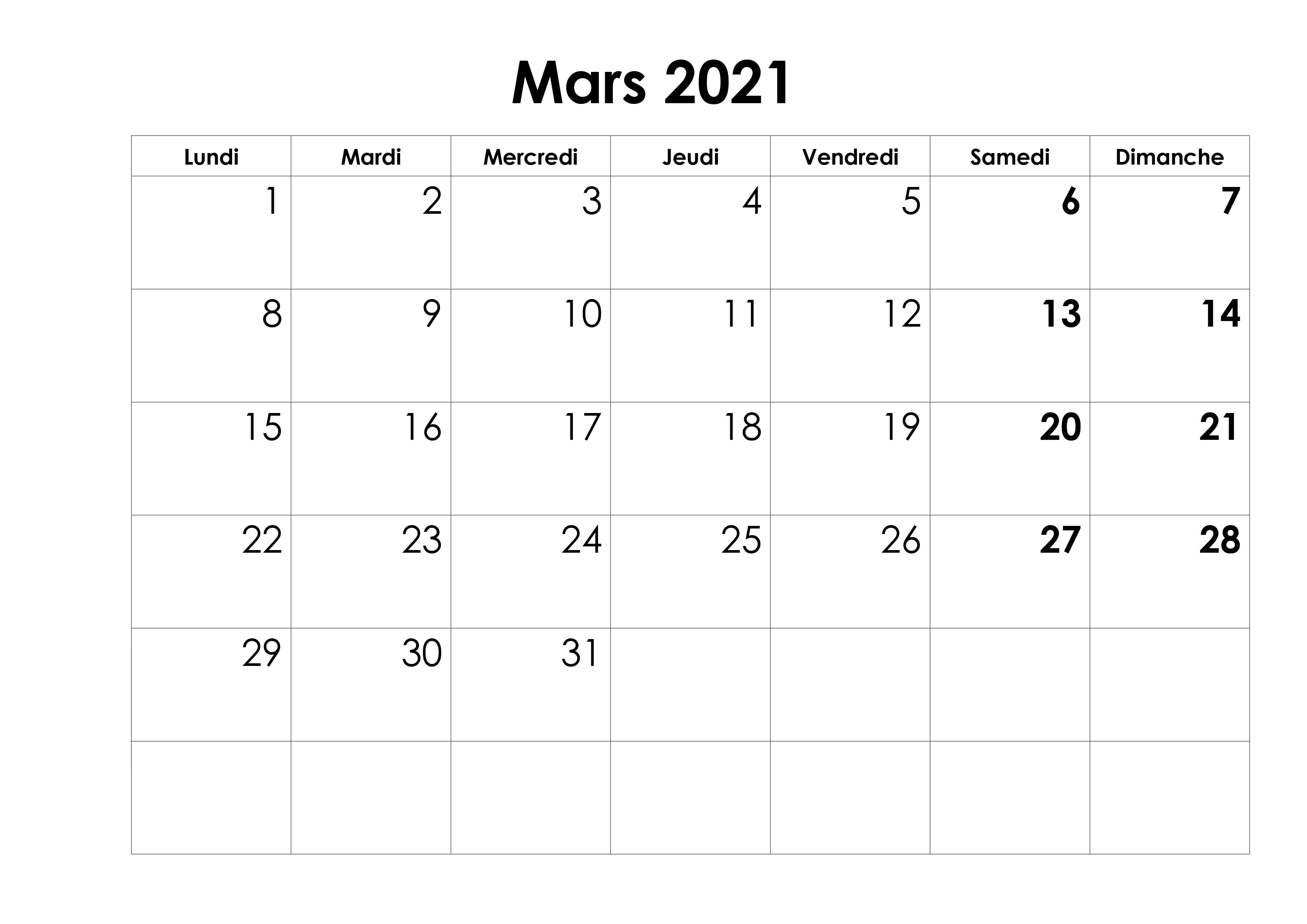 Calendrier 2021 Mars