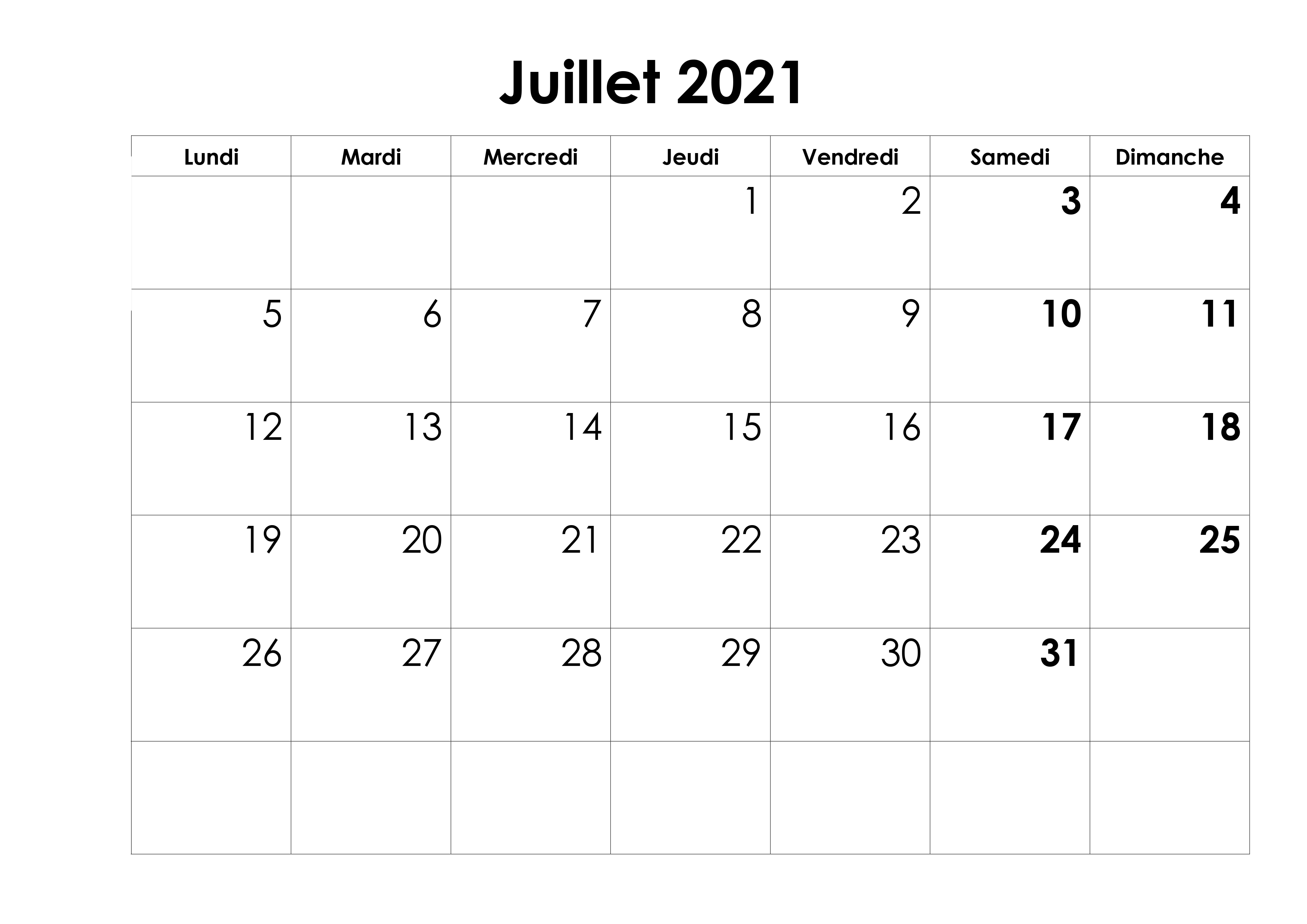 Calendrier Juillet Mensuel 2021