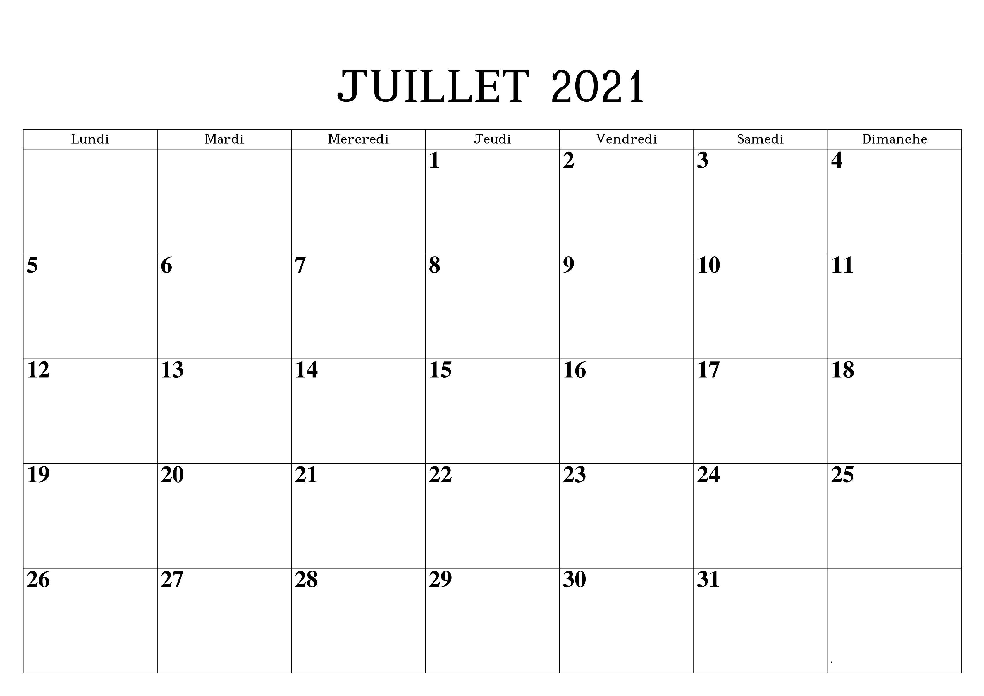 Calendrier Juillet Vacances 2021