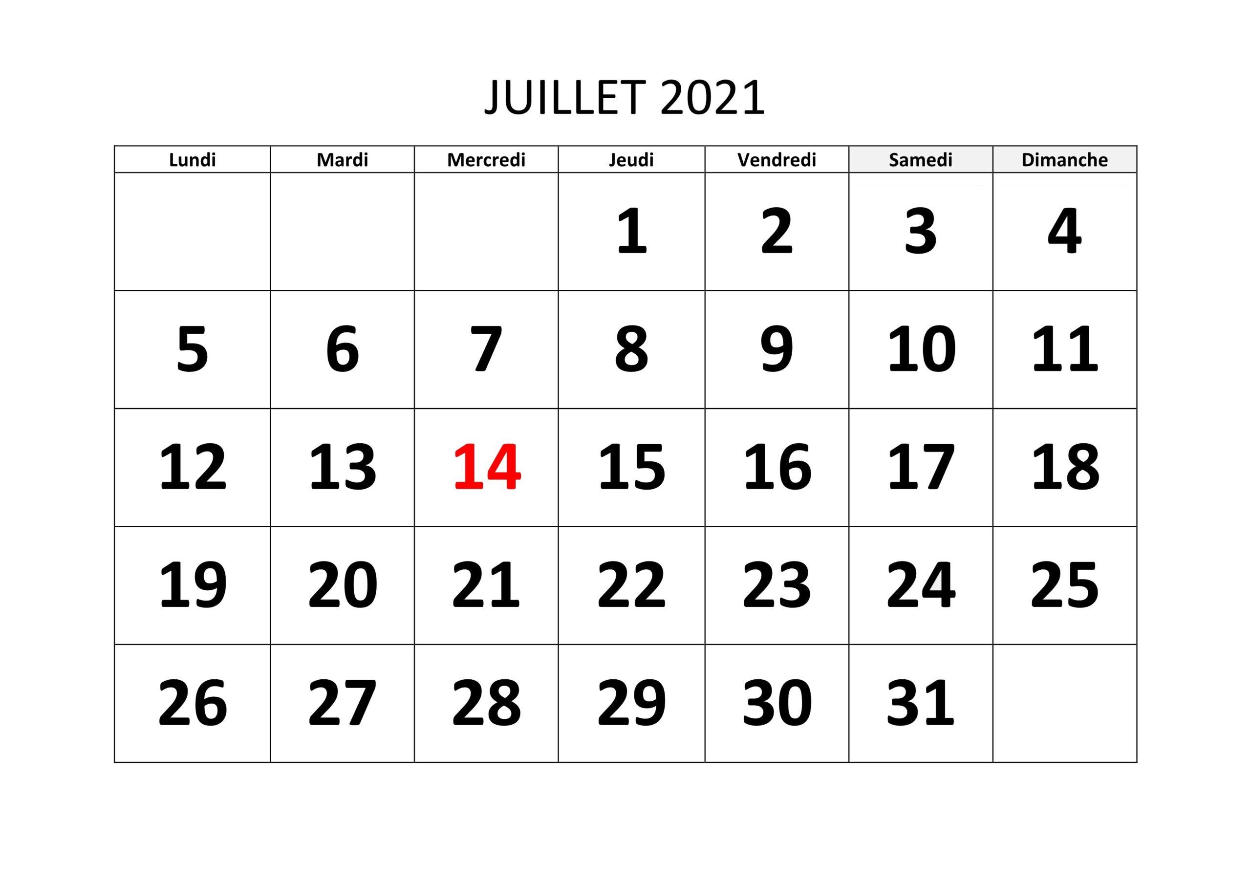 Juillet 2021 Calendrier